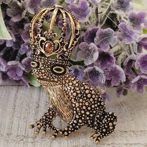 Frog Prince Fairy Tale Aged Gold Tone Brooch